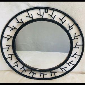 Round Woodland  Brown Metal mirror